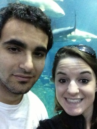 My boyfriend was thrilled to take this photo in front of the 360 shark tank